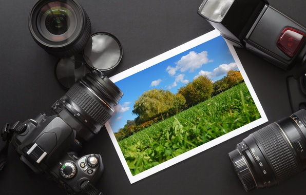 Picture photo, the camera, the table, hi-tech, the, lenses, accessories, mood., lenses