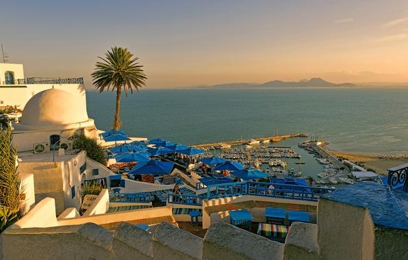 Picture sea, beach, summer, the sky, sunset, island, the hotel, Tunisia, Marina
