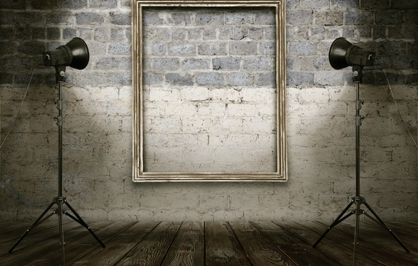 Picture light, wall, golden, frame, shining