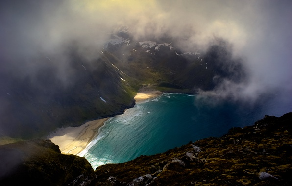 Picture beach, mountains, clouds, nature, Bay, Iceland
