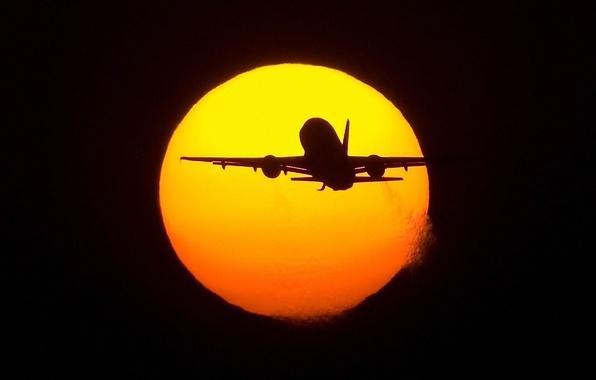 Picture flight, the plane, The sun