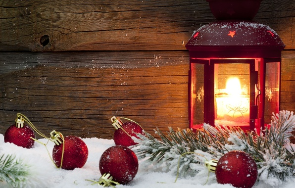 Picture winter, snow, red, background, fire, holiday, balls, Wallpaper, toys, new year, candle, lantern, wallpaper, new ...