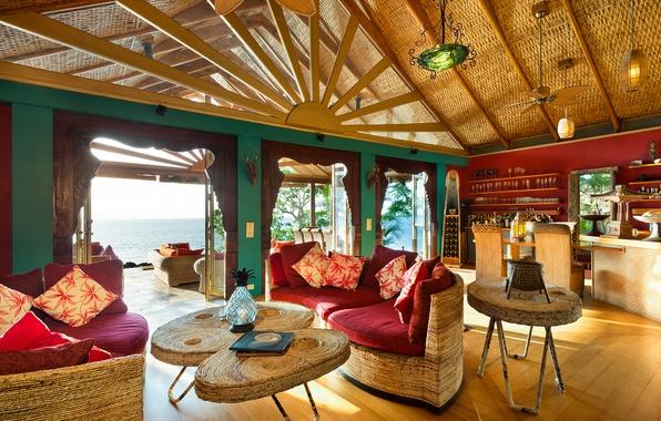 Picture pacific ocean, living room, fiji, luxury