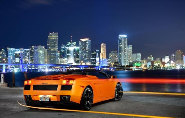 Picture Lamborghini, City, Orange, Gallardo, Sky, Spyder, Supercar, Rear