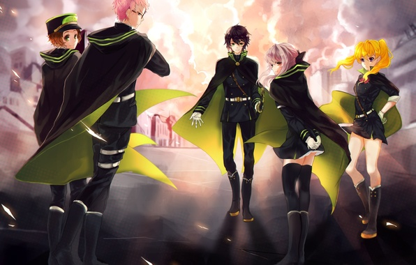 Picture the sky, clouds, girls, anime, art, guys, Owari no Seraph, hiiragi shino the, handle types …