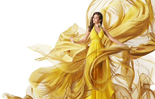 Picture girl, smile, dress, brunette, hairstyle, white background, fabric, yellow