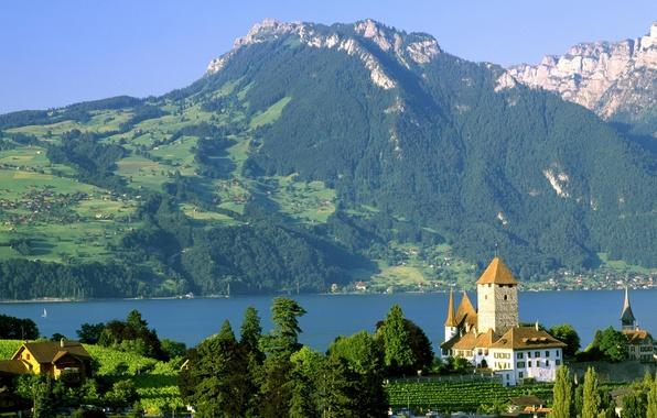 Picture lake, castle, Switzerland