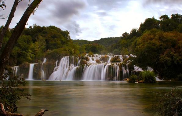 Picture autumn, river, waterfall, cascade, Croatia, Croatia, Krka National Park, Dalmatia, Dalmatia, Skradinski Buk, the river …