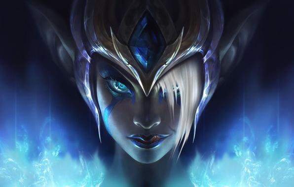 Picture look, the game, art, helmet, League of Legends, Morgana