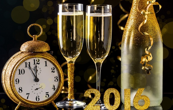 Picture watch, bottle, New Year, glasses, golden, champagne, New Year, Happy, champagne, 2016