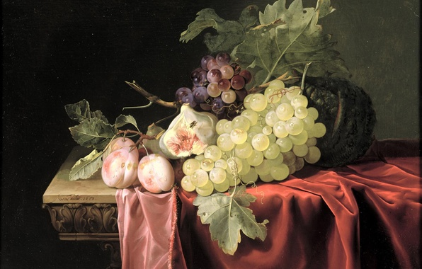 Picture picture, grapes, fruit, still life, peaches, Aalst