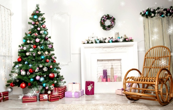 Picture decoration, balls, tree, new year, candles, Christmas, New Year, decoration, 2015