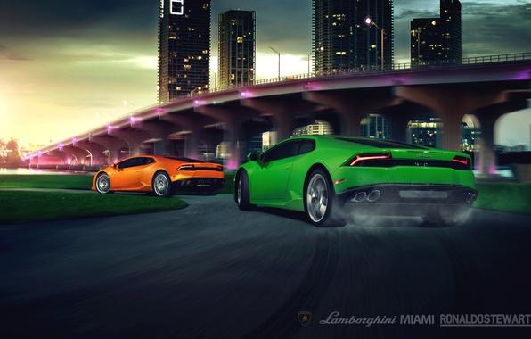 Picture green, speed, Lamborghini, turn, rear, other, orang, LP 610-4, Huracan, LB724