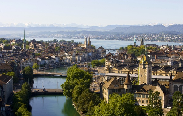 Picture landscape, mountains, river, home, Switzerland, channel, bridges, Zurich