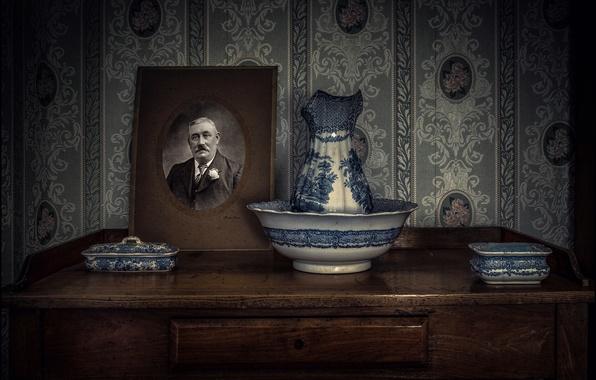 Picture retro, portrait, set, Dressing table