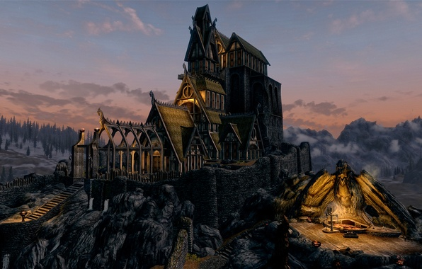 Picture forest, landscape, sunset, mountains, bird, eagle, the building, view, the evening, art, skyrim, Whiterun