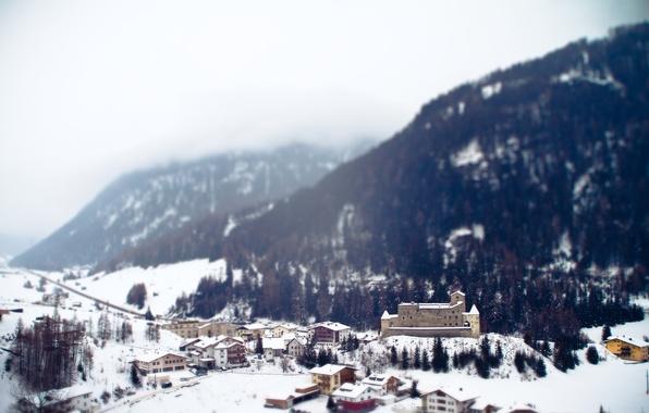 Picture winter, snow, mountains, town, resort, Alps, tilt-shift