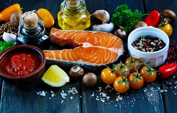 Picture lemon, oil, food, fish, vegetables, sauce, seasoning