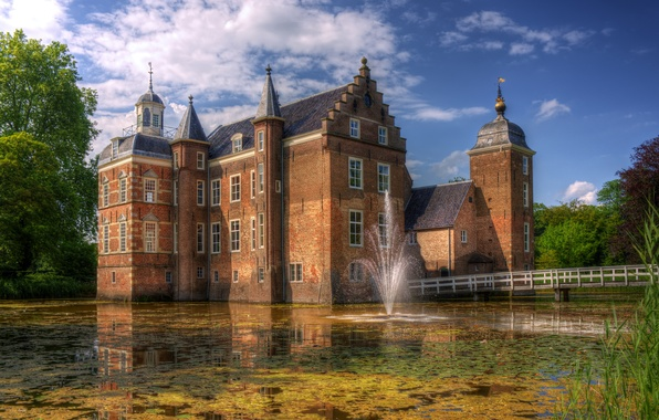 Picture the city, pond, photo, castle, fountain, Netherlands, Huize Ruurlo