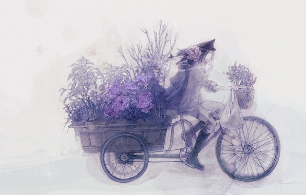Picture flowers, bike, anime, truck, guy
