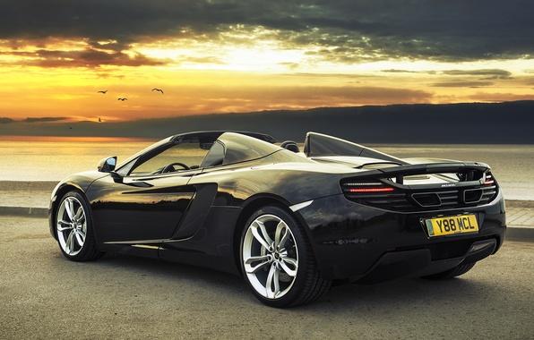 Picture The evening, Black, Machine, McLaren, Car, Car, Black, Supercar, Wallpapers, Beautiful, Spider, McLaren MP4-12C, Supercar, …
