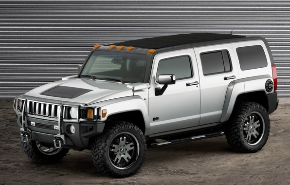 Photo wallpaper grey, hummer, machine