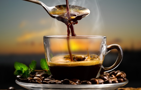 Picture coffee, spoon, coffee beans, aroma, coffee, spoon, coffee beans, mint leaves, mint leaves, aroma