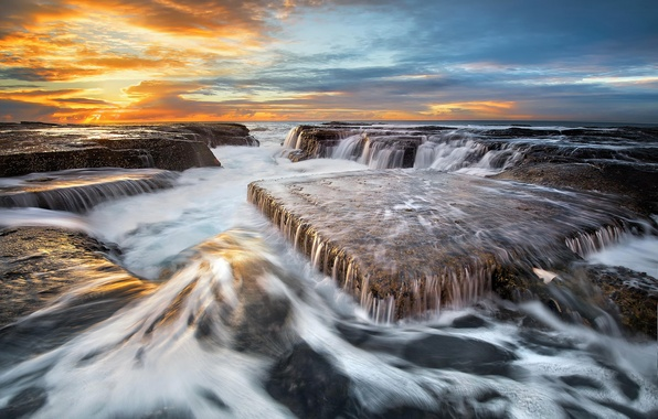 Picture sea, wave, beach, the sky, water, clouds, light, stones, the ocean, rocks, excerpt, Australia, threads