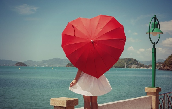 Picture sea, the sky, water, girl, red, nature, river, umbrella, background, widescreen, Wallpaper, mood, heart, umbrella, …