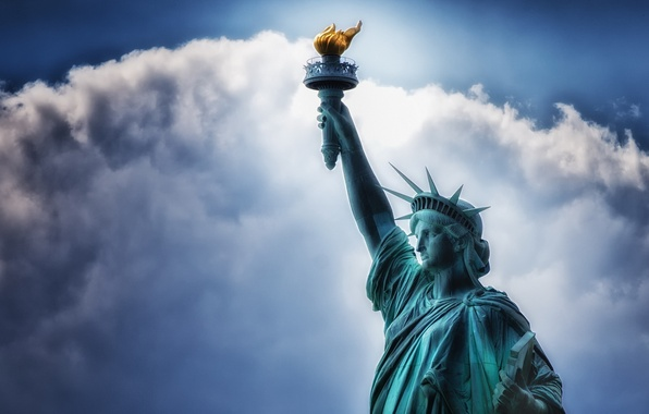 Picture the sky, freedom, background, statue