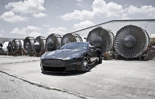 Picture grey, Aston Martin, DBS, hangar, Aston Martin, grey, DBS, aircraft engines