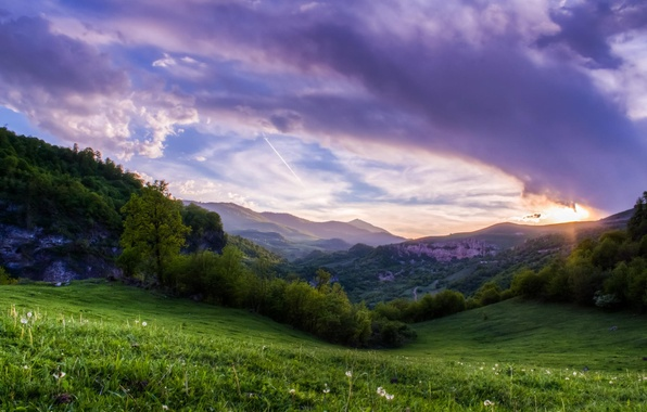Picture greens, the sky, grass, clouds, trees, landscape, sunset, Mountains, slope