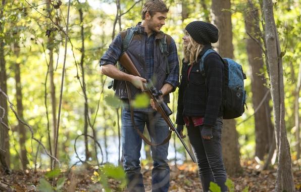 Picture forest, weapons, fiction, hat, frame, backpack, carabiner, sniper, Chloe Grace Moretz, Chloe Grace Moretz, The …
