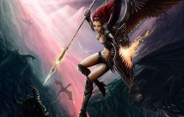 Picture girl, mountains, dragon, wings, art, monsters, battle, shield