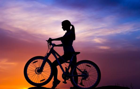 Picture the sky, girl, sunset, bike, sport, silhouette, bike, bike, mountain