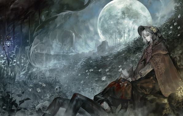 Picture girl, night, the moon, blood, plants, art, lights, cemetery, guy, undead, alcd, the hunter, bloodborne, …