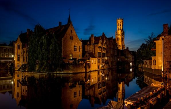 Picture night, lights, Bruges, Flanders