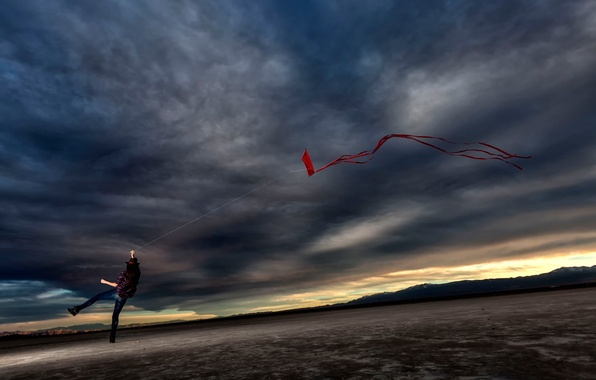 Picture girl, clouds, the wind, kite