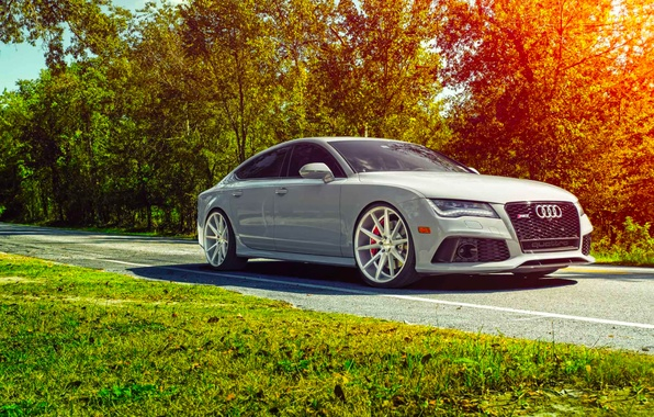 Picture Audi, Car, Front, Sun, Day, Sport, Summer, Vossen, Wheels, RS7, VFS1
