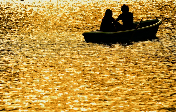 Picture sunset, river, romance, boat, the evening, two