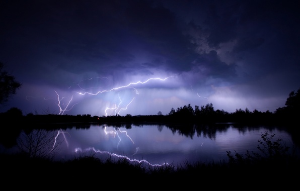 Picture the storm, the sky, clouds, lake, reflection, zipper, the evening