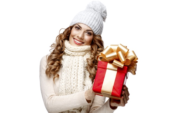 Picture girl, smile, mood, holiday, gift, hat, new year, scarf, white background, brown hair, beautiful, in …