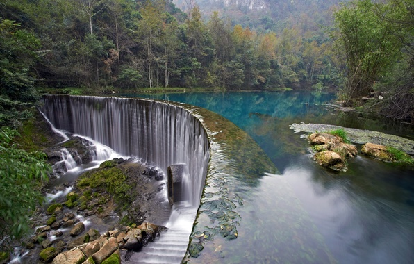 Picture forest, trees, lake, Park, stones, waterfall, Croatia, Plitvice Lakes National Park
