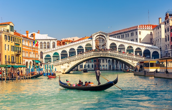 Picture bridge, building, Italy, Venice, channel, Italy, gondola, Venice, The Grand canal, The Rialto Bridge, Grand …