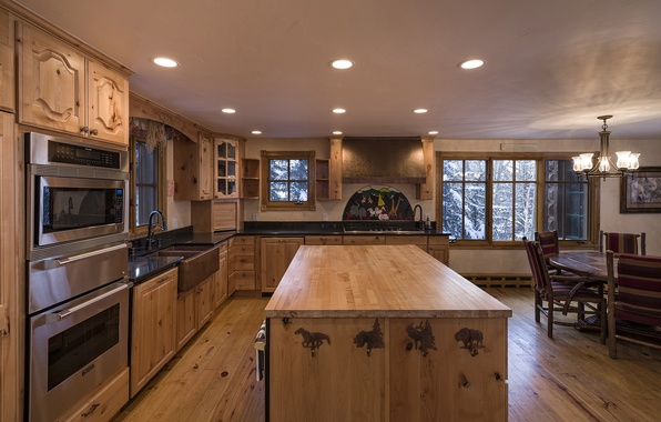 Picture wooden, home, luxury, kitchen, colorado, blue sky lodge