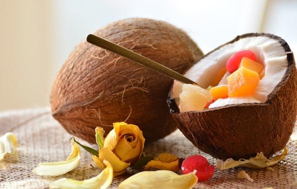 Picture rose, coconut, fruit