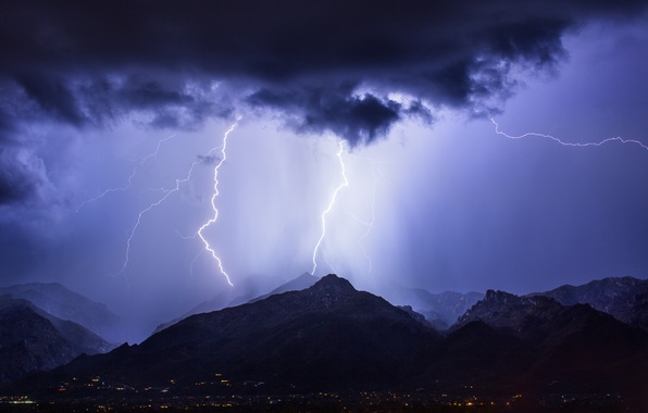 Picture the storm, the sky, mountains, night, clouds, the city, zipper, lighting, AZ, USA, blue, Tucson