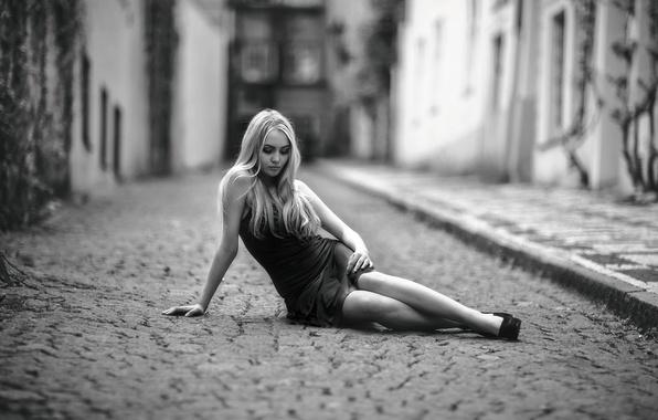 Picture girl, street, dress, sitting, bridge, Alone