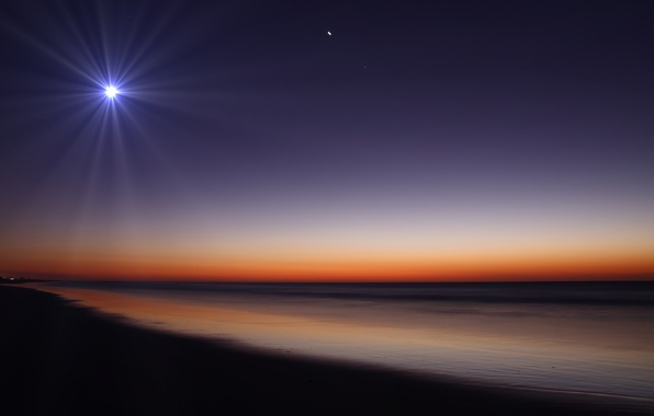 Picture sand, beach, night, nature, the moon, shore