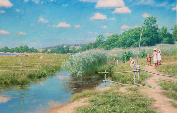 Picture summer, the sky, clouds, trees, landscape, children, stream, swamp, picture, village, pasture, meadow, reed, walk, …